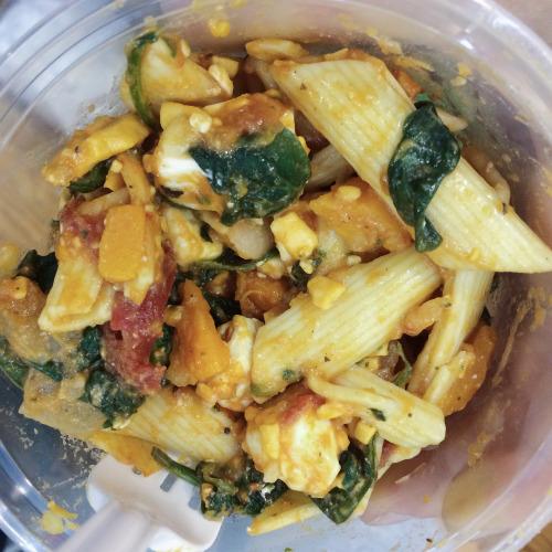 Pumpkin and feta pasta salad