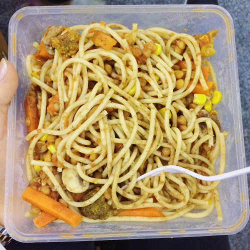 Spelt flour pasta, veges, tomato pasta sauce, lentils