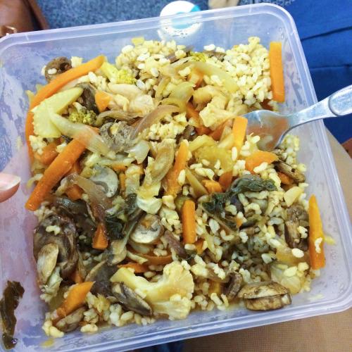 Stir fry vegetables and brown rice