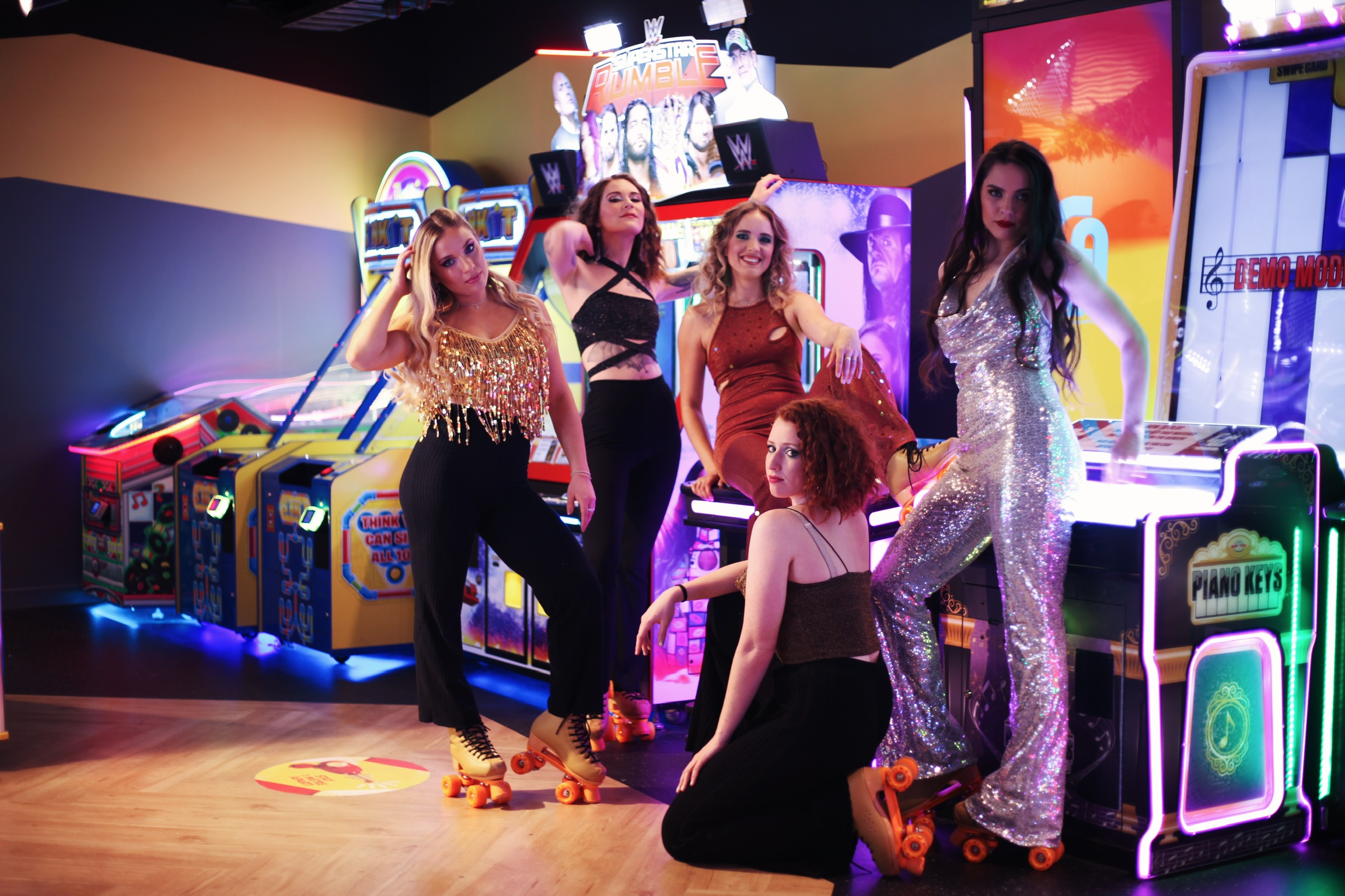 roller girl team model in their studio 54 disco outfits