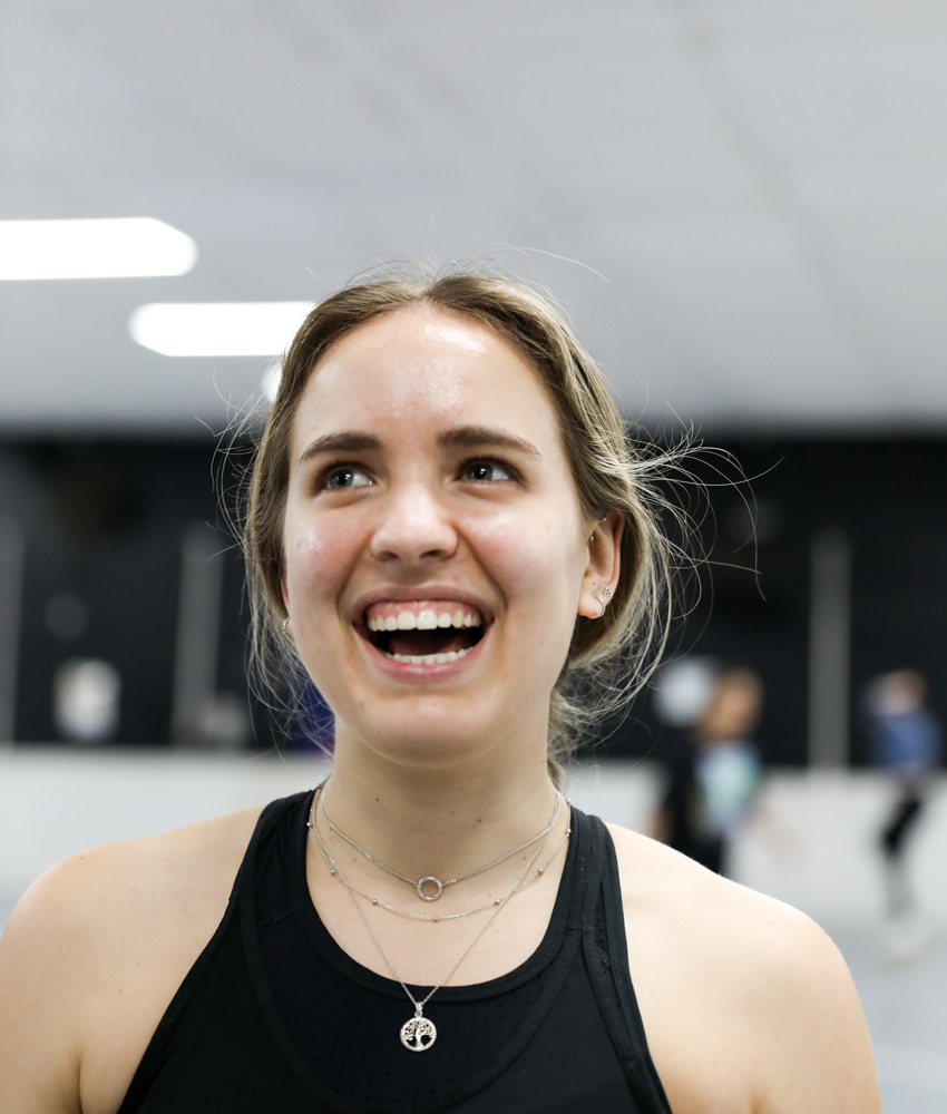 macarena smiling at her roller skating class for adults at activzone glenfield