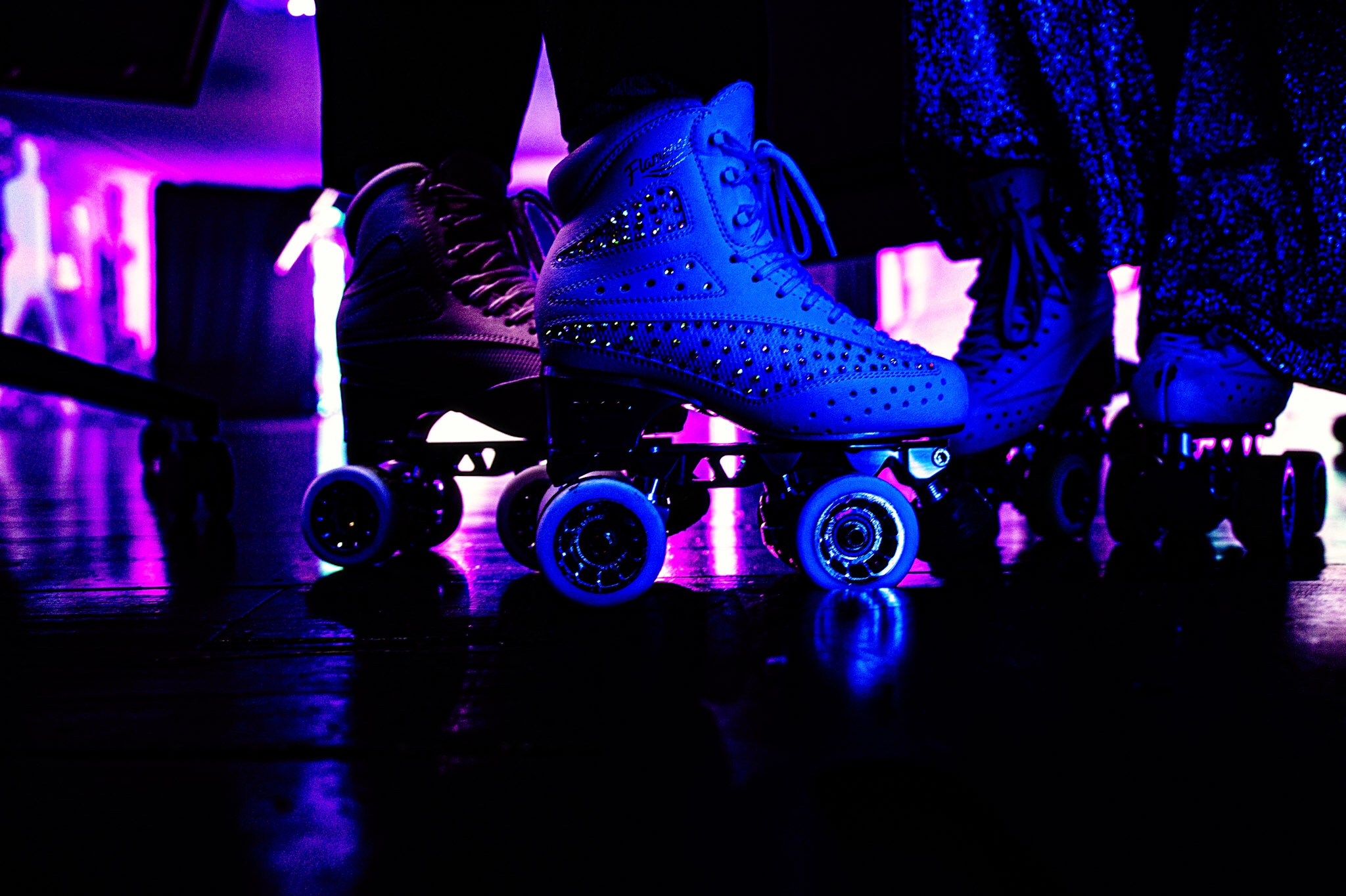 close up of edea roller skates at Raynham Park photoshoot for a performance